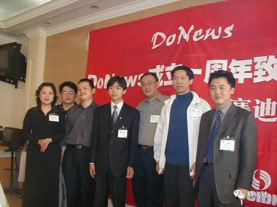 李彤、闫辉、刘韧、林兴陆、程天宇、吴锡桑、杜红 超早期DoNews核心团队(从左到右)